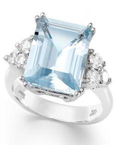 White Gold Ring, Aquamarine and Diamond Emerald-Cut Ring Emerald Cut Rings, Rose Gold Diamond Ring, Blue Rings, White Gold Rings, Aquamarine Jewelry, Sterling Silver Jewelry, Gemstone Jewelry, Jewelry Rings, Gold Jewelry