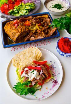 Pulled shawarma - ZEINAS KITCHEN Shawarma, Tacos, Lunch, Ethnic Recipes, Kitchen, Food, Mat, Cucina, Cooking