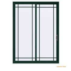 Jeld Wen 60 In X 80 In V 4500 Contemporary Bronze Finishield Vinyl Left Hand 9 Lite Sliding Patio Door W White Interior Thdjw155900476 Sliding Patio Doors Vinyl Patio Doors Vinyl Sliding Patio Door