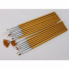 15pcs Professional Nail Art Design Painting Drawing Pen Brush Brushes Tool Set Kit Golden Handle by Crazy Cart. $3.16. Features: 1. It is made of high quality material, durable enough for your daily using 2. Including dotting tool, angle brush, fan brush, etc 3. Total 15 pcs for professional nail tech 4. Enable you to create beautiful nail designs in seconds 5. Special designed for finest detailing tasks like painting leaves and flower petals 6. Great for blending, ...