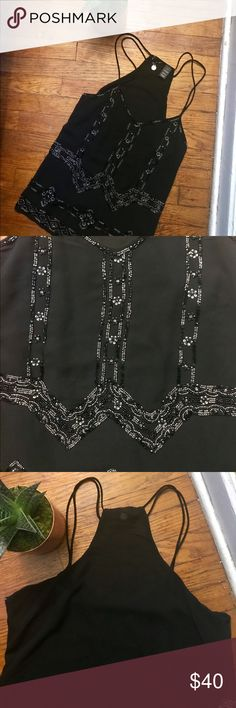 BKE Boutique beaded top! Really pretty BKE Boutique top! Very light with amazing beading and double thin straps! 26 inches in length and bust measures 20 inches! 10% polyester BKE Tops Tank Tops