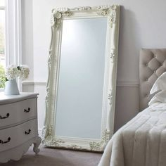The Carved Louis silver Leaner Mirror is a beautiful full length mirror that you will love to have in your home. This large mirror can be displayed on the wall and comes in cream, gold and silver. Extra Large Mirrors, Large White Mirror, Full Length Mirror White Frame, Oversized Mirror, Futon Design, Floor Standing Mirror, French Mirror, Ornate Mirror, Bedroom Decor