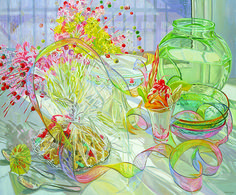 Janet Fish, Ice Cream Sundae (2004), oil on canvas, 50 x 60 inches.  Fish plays with light, iridescence, and transparency to create layers of objects that feel both real, material, 3-Dimensional and effervescent.