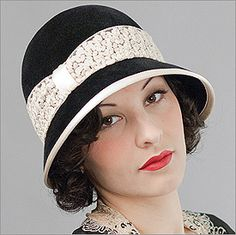 ~Darling vintage hat (hatagories.com)...Have a lace band around, could add to my black hat for a similar look!