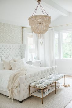 "<div>We love how <a href=""http://www.stylemepretty.com/living/2014/03/24/the-doctors-closet-home-tour/"">Monika Hibbs</a> jazzed up her all white bedroom with a wallpaper statement wall. </div>"