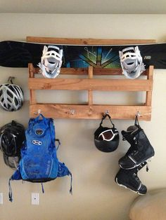 Snowboard & Equipment Shelf/Hanger by UnderTheSandpaper on Etsy, $65.00