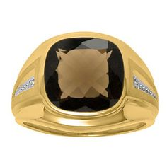 Diamond and Brown Smoky Quartz Men's Large Ring In Yellow Gold Father's Day 2015 Unique Jewelry Gift Presents and Ideas. Gemologica.com offers a large selection of rings, bracelets, necklaces, pendants and earrings crafted in 10K, 14K and 18K yellow, rose and white gold and sterling silver for that special dad. Our complete collection and sale of personalized and custom gifts for dad: www.gemologica.com/mens-jewelry-c-28.html