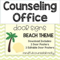 School Counselors, decorate your office door with these beach theme door signs! This product includes 3 door signs and 3 editable door signs which allow you to add in your name. After purchasing the product, laminate the door sign and use a close-pin to indicate where you are throughout your School Counselor Door, Office Door Signs, School Counseling Office, Beach Signs, Beach Themes, Close Pin, Doors, Gate