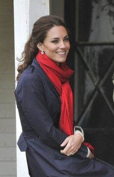 Kate Middleton red scarf + navy trench