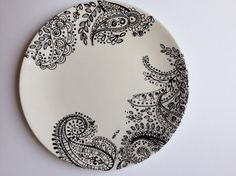 Dinner plate with black and white paisley by victoriamaedesigns