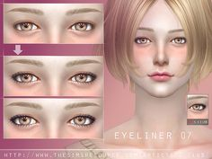 Eyeliner for all age, 2 versions, hope you like. Found in TSR Category 'Sims 4 Female Eyeliner' Source: S-Club WM eyeliner 07 Sims 4 Cc Eyes, Sims 4 Cc Skin, Sims Cc, Makeup Filter, Sims 4 Cc Makeup, Sims 4 Dresses, Sims 4 Characters, Best Mods, The Sims 4 Download