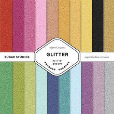 Glitter 20 Piece Digital Scrapbook Paper Mega Pack by sugarstudios $3.99