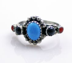 Vintage Southwest Sterling Silver Turquoise Coral Obsidian Ring Size 8 Signed #Handmade