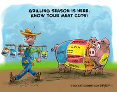 Know your pig and meat cuts Daily Cartoons, Roasted Ham, Pork Recipes, Meat, Kitchen, Cucina, Cooking, Grilled Prime Rib