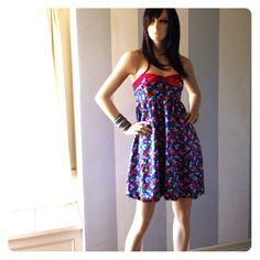 """SALE Betsey Johnson Silk Charmeuse Gorgeous soft and sexy in new condition. Elasticized back, tie top front. Hidden side zip. Blue with strawberries and flowers. Fully lined in silk. Tag says size 2 but fits larger up to Medium. Bust up to 36"""" empire just below up to 31"""" waist up to 31"""" hips up to 40"""" Betsey Johnson Dresses"""