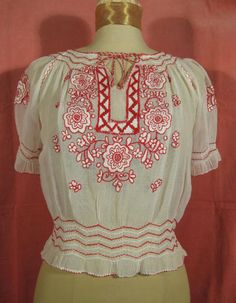 Vintage 40s Hungarian Embroidered Peasant Blouse Red and White #gorgeous