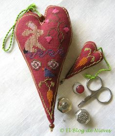 love the colors in this cross stitch Spring/bunny heart pillow and scissors fob