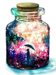 "A jar full of color...The song  ""Ain't No Sunshine When She's (He's) Gone"", came to my mind..."