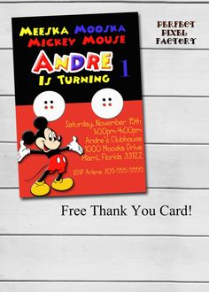 MICKEY MOUSE Invitation Mickey Mouse by PerfectPixelFactory
