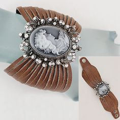 beautiful vintage cameo and leather bracelet.
