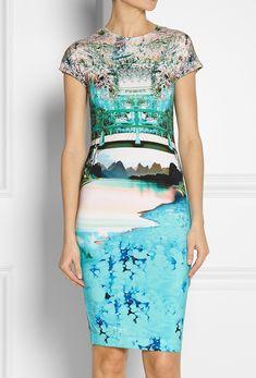 Blue Short Sleeve Landscape Print Bodycon Dress