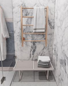 The versatility of marble allows for boldness with the selection of finishes. One option is to choose various fittings in Brushed Bronze or even Matt Black. Add A Bathroom, Bathroom Accents, Towel Rack Bathroom, Bathroom Ideas, Gold Bathroom Accessories, Victorian Bathroom, Heated Towel Rail, Chic Bathrooms, Bathroom Interior Design