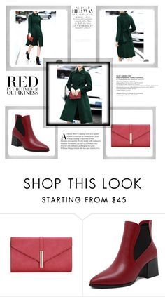 """""""Green Coat & Red Booties"""" by fuschiasilk ❤ liked on Polyvore featuring Polaroid"""