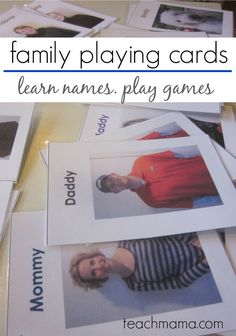 Want a fun way to teach your kids the names of the ones they love? These family playing cards is a super fun activity for the kids that helps them to learn names while playing! Use fun games and activities as a way to teach your toddlers and preschoolers! #family #games #toddler #preschoolers #kidsactivities #activity #learning