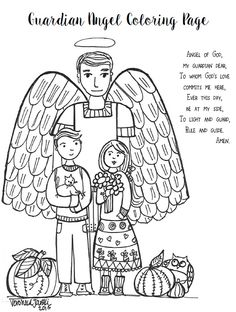 Angel Of God Prayer Guardian Coloring Sheet