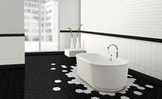 Hexagonal tiles steal the show in this stunning, minimal bathroom [Design: Metro Tiles Geebung] Minimalist Bathroom Design, Minimal Bathroom, Small Bathroom, Bathroom Wall, Bathroom Modern, Neutral Bathroom, Bathroom Storage, Minimalist Design, Black Bathroom Floor Tiles