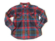 PEEK Boys Red Blue Plaid Cotton Long Sleeve Shirt Size L 8 #Peek #DressyEverydayHoliday