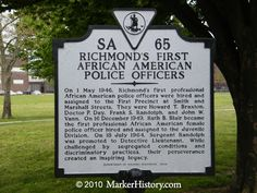 images of historical african american markers by state | Richmond's First African American Police Officer's Marker, SA-65