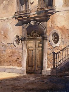 Classically trained watercolor artist Vladislav Yeliseyev is Russian-born American artist presents urbanscapes, seascapes, landscapes and more. Art Watercolor, Watercolor Landscape, Landscape Paintings, Watercolor Illustration, Watercolor Architecture, Architecture Art, Arte Pop, Urban Sketching, Oeuvre D'art