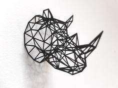 Printed Wired Life Rhino Trophy Head Medium by Dotsan on Shapeways Types Of 3d Printers, 3d Printing Machine, 3d Printing Service, 3d Pen, 3d Prints, Animal Heads, Wire Art, Geometric Shapes, Metal Art