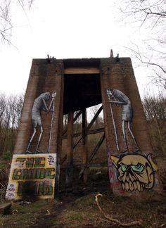 New trackside paintings from Phlegm – more (middle of nowhere) images @ http://www.juxtapoz.com/Street-Art/new-trackside-paintings-from-phlegm – Street Art, Public Art