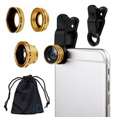 Gold Clip On 180 Degrees Portable 3 in 1 Camera Lens Kit  FishEye  Wide Angle  Macro for Samsung Galaxy Core Plus G3500 *** You can get additional details at the image link.