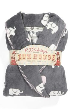 PJ Salvage Plush Robe, grey elephants, available at #Nordstrom