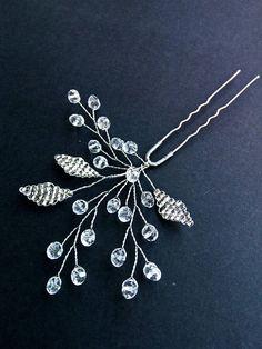 Lea Crystal hairpins Bridal hair pin Wedding u-pins Leaf bobby