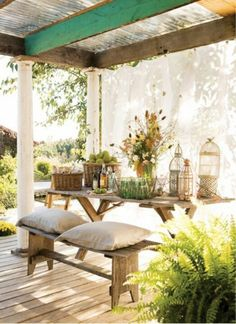 Porch curtains and outdoor drapes are a great idea for creating a porch enclosure or just to soften the look of your porch. Drapes and silky sheer curtains add immense ambiance and curb appeal to your porch. Outdoor Drapes, Outdoor Rooms, Outdoor Dining, Outdoor Gardens, Outdoor Decor, Outdoor Seating, Rustic Outdoor, Dining Area, Rustic Bench