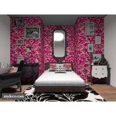 Pink Teenage girls bedroom found on Polyvore