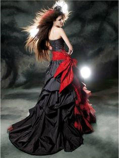 Today I am showcasing my collection of unique black and red wedding dresses! Today I am showcasing my collection of unique black and red wedding dresses Halloween Wedding Dresses, Muslim Wedding Dresses, Colored Wedding Dresses, Bridal Dresses, Wedding Gowns, Tulle Wedding, Red And Black Gown, Black Gowns, Red Black