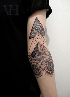 stunning geometric all-seeing eye + mountain snow + rose tattoo | artist: Valentin Hirsch