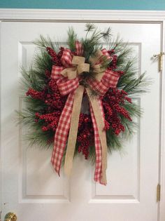 Red berry and Pine wreath, Natural pine Christmas Wreath, Farmhouse door wreath, Primitive Christmas wreath, Country style Christmas wreath by TammysCreatedDesigns on Etsy