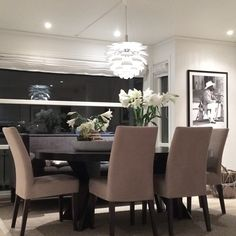 Dark table/ light chairs