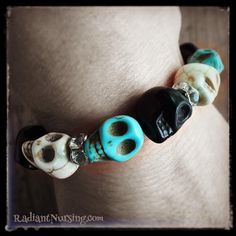 Arrgggh, me matey, a skull bracelet to remind ye of Davey Jones Locker! Pirates!