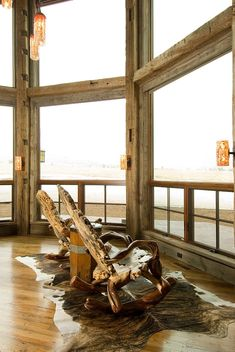 Beartooth Foothills Residence by Montana Reclaimed Lumber Co. I like the way the lights are set up in this room.