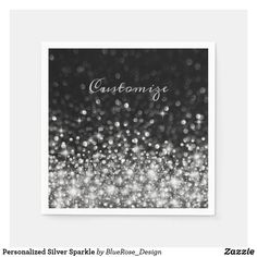 Personalized Silver Sparkle Napkins Christmas Card Holders, Christmas Cards, Ecru Color, Party Items, New Years Party, Cocktail Napkins, Favor Boxes, Paper Napkins, Colorful Backgrounds