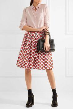 Prada - Printed Stretch-denim Skirt - Red - IT