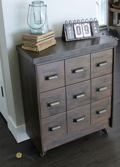 Create your own faux vintage apothecary cabinet by gluing 3mm thick panels onto the drawer fronts and then fitting aged brass or pewter cup handles. Stain with Woodoc Gel Stain and finish with Woodoc 5 matt sealer. Pop on some caster wheels and you're done.