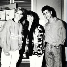 Mark-Paul Gosselaar (Zack Morris) Tiffani Amber Thiessen) Kelly Kapowski and Mario Lopez (A.C. Slater) on the set of Saved By The Bell.